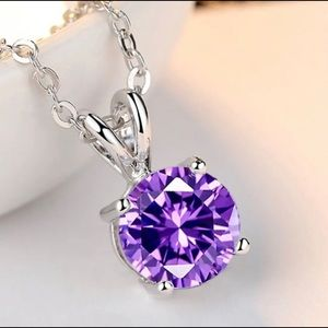 Jewelry - White Gold Chain with Purple February Birthstone